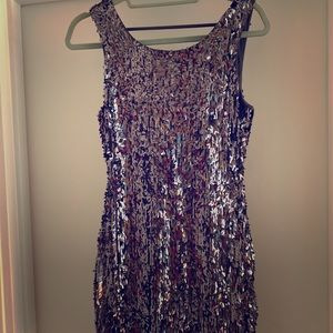 Silver sequin backless mini holiday dress